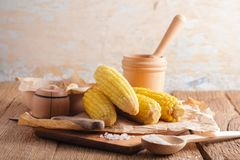 Gotowana kukurudza na Cobs Zdjęcie Stock