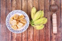 Gotowany banan w syropie i wholes banan Zdjęcie Stock
