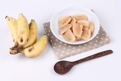Gotowany banan w syropie i wholes banan Zdjęcia Stock