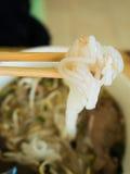 Gotowany Chiński makaronu kwadrat, Azjatycki jedzenie styl Zdjęcia Royalty Free