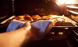 Gotowi jabłczani kulebiaki brać z piekarnika Zdjęcie Royalty Free