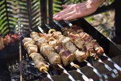 Gotowy mięsny shish kebab na skewers Obraz Stock