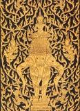 Gott auf Elefanten in der traditionellen siamesischen Artkunst Lizenzfreies Stockbild