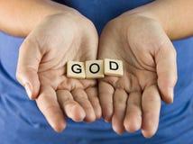 Gott buchstabiert in den Fliesen lizenzfreies stockbild