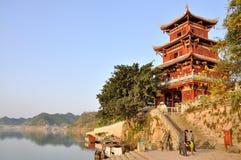 Gott des Reichtums-Turms in der alten Stadt von Zhouzi Stockfoto