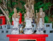Gott des Vermögens (Fu, Hok), des Wohlstandes (Lu, Lok) und der Langlebigkeit (Shou, Siu) Stockfotos