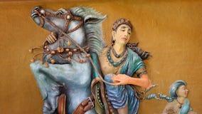 Gott Devata - Gottheit auf Pferd stockfoto