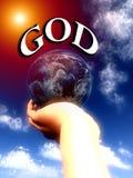 Gott die Welt in seinem übergibt 2 Stockfoto