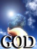 Gott die Welt in seinem übergibt 3 Stockbild