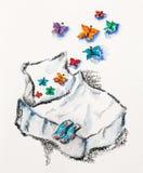 Gott drömbegrepp med underlaget och fjärilar royaltyfri illustrationer