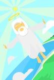 Gott fliegt über Land stock abbildung