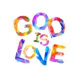 Gott ist Liebe Vektoraufschrift lizenzfreie abbildung