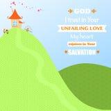 Gott-Jesus Christ Background Design Cartoon-Anbetungs-Liebe Joy Faith Vector Illustration Lizenzfreies Stockfoto