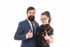 gott jobb Hipster för affärskollegaman med skägget och nätt kvinnaglasögon på vit bakgrund Affär royaltyfria foton
