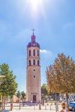 Gott ` s Glanz wie ein Engelssegen auf Glockenturm von Nächstenliebe nahe dem Platz Bellecour lizenzfreie stockbilder