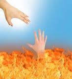 Gott speichert die Hölle lizenzfreie stockbilder