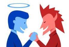 Gott und Übel rütteln Hände zusammen, Vektor lizenzfreie abbildung