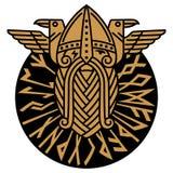 Gott Wotan und zwei Raben in einem Kreis von Skandinavierrunen Illustration der Skandinaviermythologie vektor abbildung