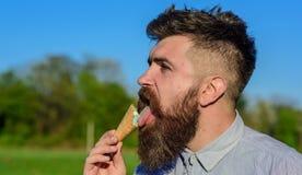 Gottegrisbegrepp Mannen med det långa skägget slickar glass Mannen med skägget och mustaschen på strikt framsida äter glass Arkivfoton