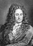 Gottfried Leibniz. (1646-1716) on engraving from 1859. German mathematician and philosopher. Engraved by unknown artist and published in Meyers Konversations Royalty Free Stock Photos