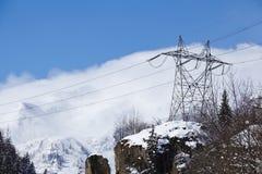 Gotthard massif - Power poles Stock Photo