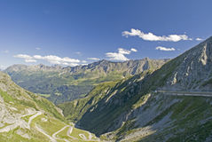 Gotthard pass street. The old (left) and the new (right) street over the Gotthard pass route Stock Images