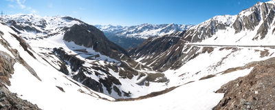 Gotthardpass, view of the valley of Tremola Stock Image