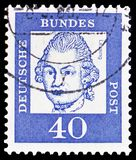 Gotthold Ephraim Lessing (1729-1781), poet and philosopher, Famous Germans serie, circa 1961. MOSCOW, RUSSIA - FEBRUARY 20, 2019: A stamp printed in Germany stock photo