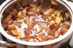 Gotujący świeży jabłczany dżem Zdjęcia Royalty Free