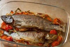 Gotujący dennej ryby dorado w szklanym rondlu z cytryną, pikantność i warzywa Domowej roboty przepisu kulinarny pojęcie fotografia stock