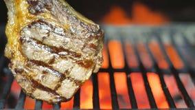 Gotujący, dymiący wyśmienicie soczystych mięsnych stki na grillu na grillu i ogieniu zbiory wideo