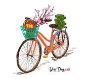 Gotujący kwadratowy glutinous okwitnięcie i, bicykl nowy rok przekład ilustracji