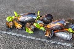 Gotujący mussels na desce obraz stock
