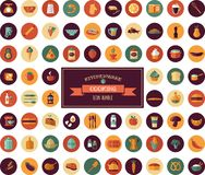 Gotujący płaskie ikony & Popierający, Kitchenware elementy ilustracja wektor