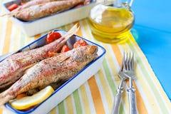 Gotująca czerwona barwena z warzywami Fotografia Stock