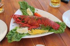 Gotujący homar na porcja talerzu fotografia royalty free