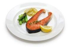 Gotujący łososiowy stek Obrazy Stock