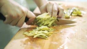 Gotuje wielkiego nóż na deska siekających solących konserwować ogórkach zbiory