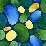 Gouache abstracte naadloze groene en gele vlekken op een donkere achtergrond stock illustratie