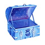 Gouache blue old opened chest with padlock royalty free illustration