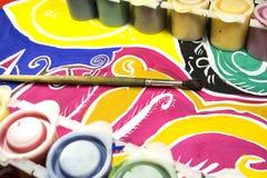 Gouache, borste och teckning Arkivbilder