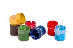 Gouache color in containers stock photography