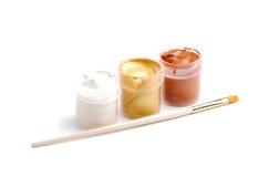 Gouache con la spazzola Fotografie Stock