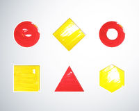 Gouache geometric shapes Stock Photos