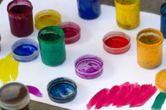 Gouache in jars for creativity Royalty Free Stock Photos