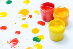 Gouache in jars and drops Stock Photo