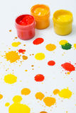 Gouache in jars and drops Stock Images