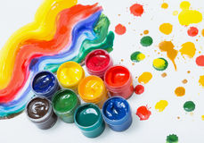 Gouache in jars and drops Royalty Free Stock Photography