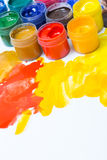 Gouache in jars Royalty Free Stock Photography