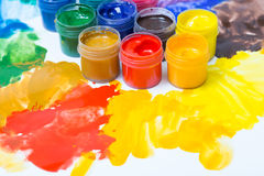 Gouache in jars Royalty Free Stock Image